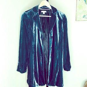 Coldwater creek teal velvet jacket sz 10